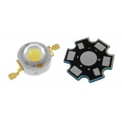 LED 3W High Power 3 Watts Color Blanco Cálido con Base Disipadora