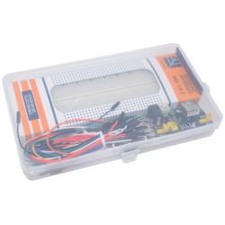 Pack Caja Protoboard MB102 830p + Cables Macho 65pcs + Mini Fuente 5V 3.3V