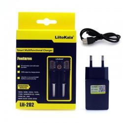 Cargador Dual para Baterias 3.7V 18650 LiitoKala Modelo Lii-202 con Transfomador 5V 2A