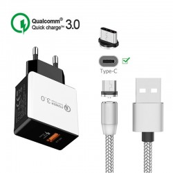 Cargador USB de Pared Quick Charger 3.0 18W 5V 3A con Cable USB C Magnético
