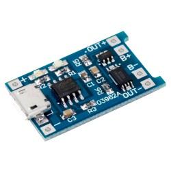 Módulo Cargador de Batería Li-ión LiPo Micro USB TP4056 con Protección y Salida de Respaldo