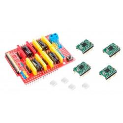 CNC Shield Arduino Incluye 4 Controladores Drivers Pololu A4988 con Disipadores